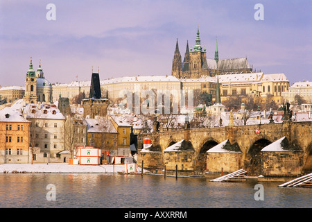Prague Castle, Charles Bridge, Vltava River and suburb of Mala Strana, Prague, Czech Republic, Europe - Stock Photo