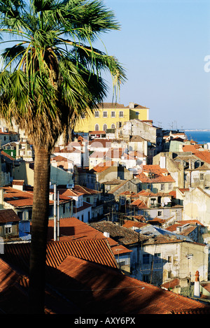 View of Alfama district and the Tagus River, Lisbon, Portugal, Europe - Stock Photo