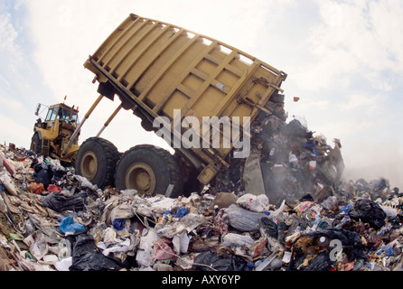 Lorry arrives at waste tipping area at landfill site, Mucking, London, England, United Kingdom, Europe - Stock Photo
