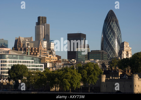 City of London skyline, 30 St. Mary Axe building on the right, London, England - Stock Photo