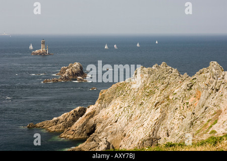 The lighthouse at Pointe du Raz, Southern Finistere, Brittany, France - Stock Photo
