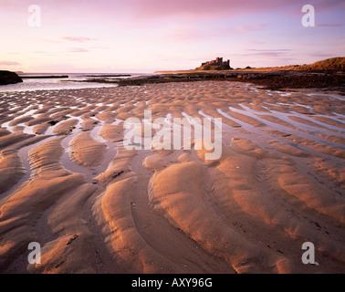 Bamburgh castle and Bamburgh beach at sunrise, Bamburgh, Northumberland, England, United Kingdom, Europe - Stock Photo