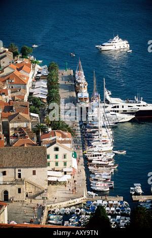 View over the harbour and promenade, Hvar Town, Hvar Island, Dalmatia, Dalmatian coast, Croatia, Europe - Stock Photo