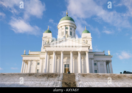 Lutheran Christian cathedral in winter snow, Helsinki, Finland, Scandinavia, Europe - Stock Photo