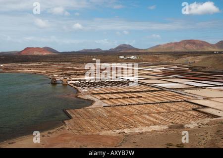 Salinas de Janubio (saltworks) on Lanzarote in the Canary islands. - Stock Photo