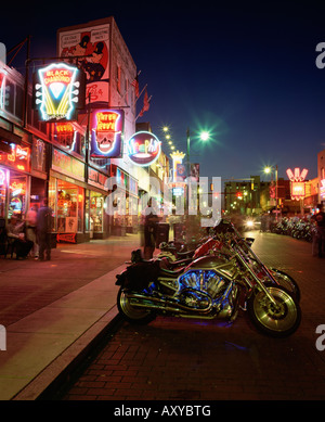 The famous Beale Street at night, Memphis, Tennessee, United States of America, North America - Stock Photo