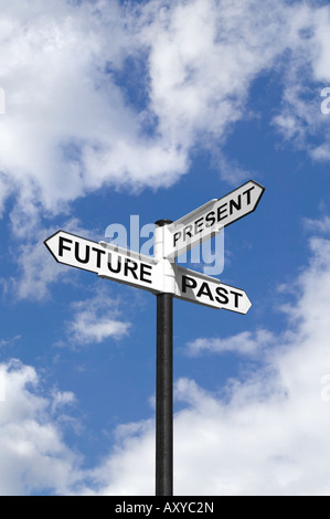 Concept image of Future Past Present on a signpost against the sky - Stock Photo