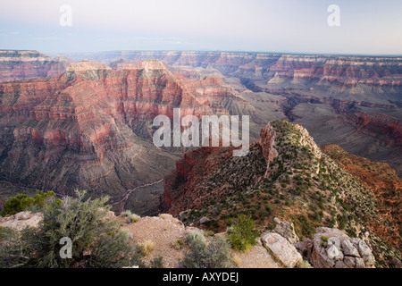 The view to the southeast from Point Sublime after sunset, North Rim, Grand Canyon National Park, Arizona, USA - Stock Photo
