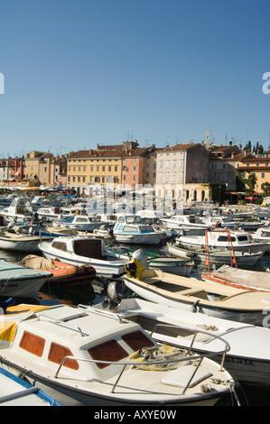 Old Town and boats in harbour, Rovinj, Istria coast, Croatia, Europe - Stock Photo