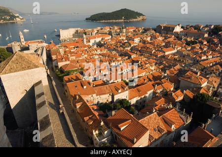 Old Town houses, city walls, Lokrum Island, Dubrovnik, UNESCO World Heritage, Dalmatia, Croatia, Adriatic, Europe - Stock Photo