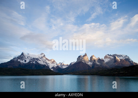 Paine Horns (Cuernos) on right, and Big Paine (Paine Grande) on left seen from Lago Pehoe, Torres del Paine, Patagonia, - Stock Photo