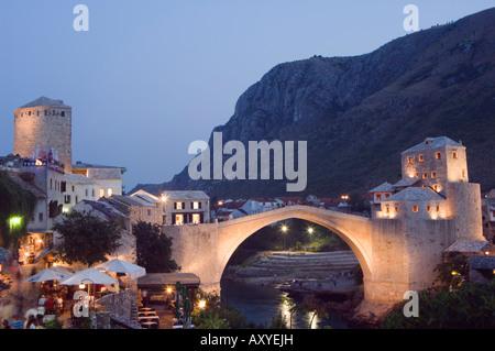 Stari Most Peace Bridge on Neretva River, evening, Mostar, Bosnia, Bosnia-Herzegovina, Europe - Stock Photo