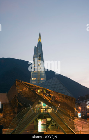 Caldea Hot Spring Complex lit up in the evening, Andorra La Vella, Andorra, Europe - Stock Photo