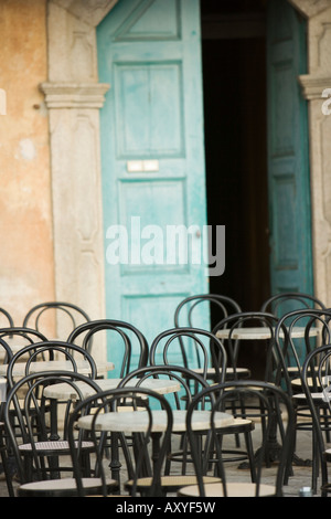Empty tables at cafe, Lake Maggiore, Italy, Europe - Stock Photo