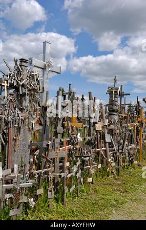 Hill of Crosses, near Siauliai, Lithuania, Baltic States, Europe - Stock Photo