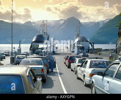 Car ferries (Hella - Dragsvik and Hella - Vangsnes) loading at Hella, Sognefjord, Sogn og Fjordane, Norway. - Stock Photo