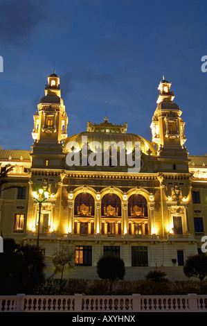 Casino, Monte Carlo, Principality of Monaco, Cote d'Azur, Mediterranean, Europe - Stock Photo