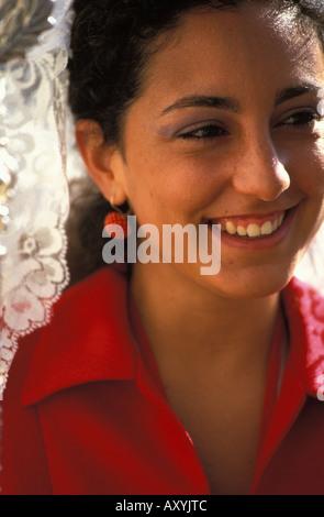 Jerez de la Frontera traditional dress for women - Stock Photo