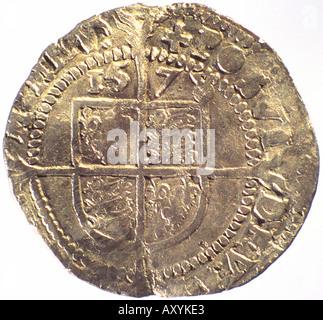 Silver coin of Elizabeth I - Stock Photo