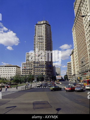 geography / travel, Spain, Madrid, streets, main shopping street, Gran Via with the Torre del Madrid, tower    , - Stock Photo