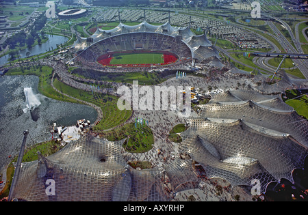 The Olympia Park during the 1972 Olympic Games in Munich, Bavaria, Germany - Stock Photo