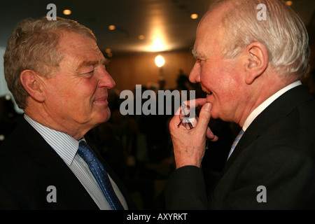 Former Liberal Democrat Leaders Paddy Ashdown and Ming Campbell MP at the announcement of Nick Clegg as new Lib - Stock Photo