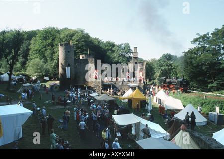 middle ages festival on castle ruin Hardenstein, Germany, North Rhine-Westphalia, Ruhr Area, Witten - Stock Photo