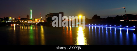 Illuminated water surface in the inner harbour, Germany, North Rhine-Westphalia, Ruhr Area, Duisburg - Stock Photo