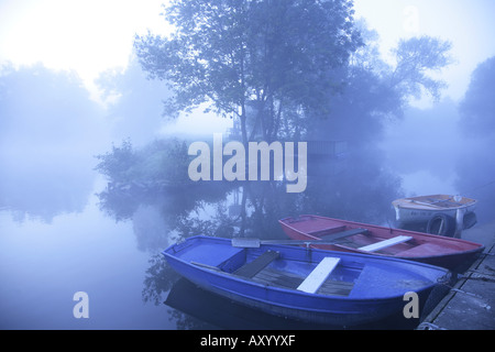 rowing boats in morning atmosphere, Germany, North Rhine-Westphalia, Ruhr Area, Witten - Stock Photo