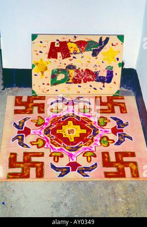 England London Southall Rangoli Pattern For Diwali Outside Home - Stock Photo