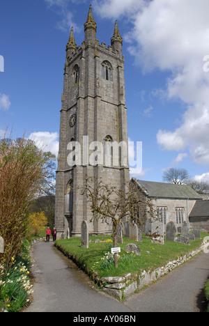 St. Pancras Church, Widecombe-in-the-Moor, Devon, England - Stock Photo