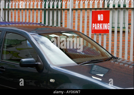 No Parking Notice In Front Of Locked Gates To Offices And