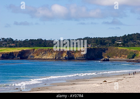 Carmel Bay and the famous Pebble Beach Golf Course as viewed from Carmel Beach - Stock Photo