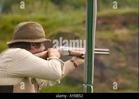 English country gentleman clay pigeon shoot - Stock Photo