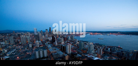 Downtown Seattle, Washington is seen from the top of the Space Needle on March 24, 2008. (Photo by Kevin Bartram) - Stock Photo