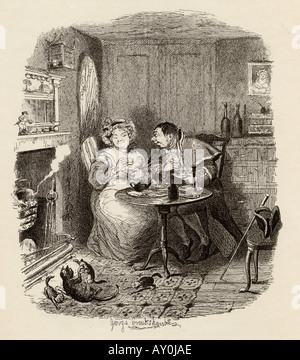 Mr Bumble and Mrs Corney taking tea From the book The Adventures of Oliver Twist - Stock Photo