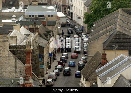 Aerial view of the town of Cirencester showing a traffic jam in the town centre - Stock Photo