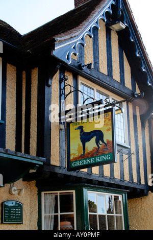 The Greyhound Pub Sign in the High Street Lavenham Suffolk UK - Stock Photo