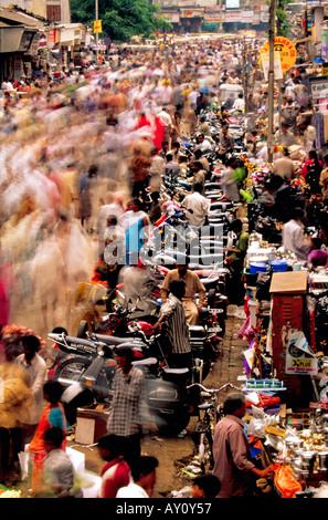 The unimaginable buzz of Dadar West Street Market Mumbai seething with crowds of buyers and sellers. India Asia - Stock Photo