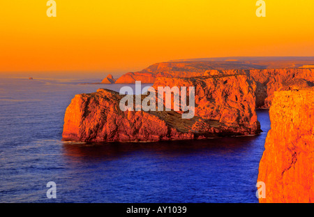 View Cabo de Sao Vicente Sagres Costa Vicentina Algarve Portugal - Stock Photo