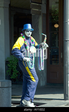 Mime artist in the French Quarter of New Orleans Louisianna USA - Stock Photo
