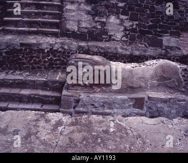 The Aztec ruins of the Templo Mayor Mexico City Mexico - Stock Photo