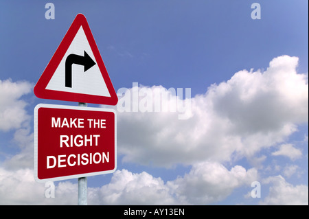 Make the Right Decision on a signpost against a blue cloudy sky - Stock Photo