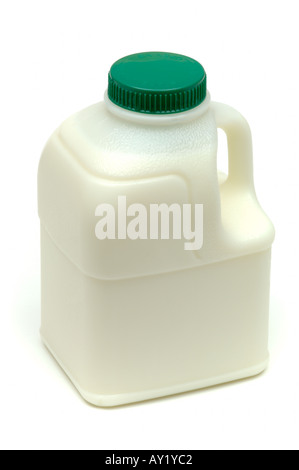A pint of Semi skimmed milk in plastic bottle commonly available in UK supermarkets on white background - Stock Photo