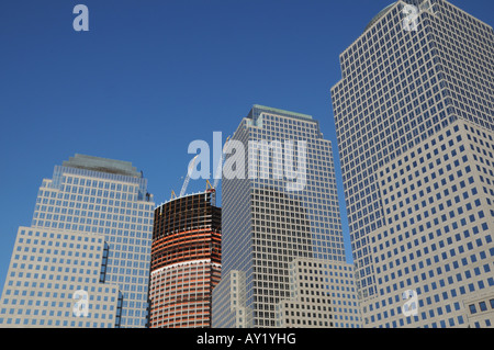 Surrounded by the World Financial Center in Lower Manhattan, the Goldman Sachs headquarters building is under construction. - Stock Photo