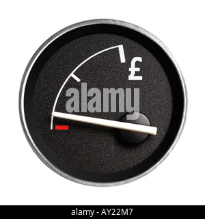 Fuel gauge marked with Pound sign, showing empty - Stock Photo