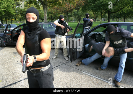 DEU Germany Police special squad SWAT Teams exercise - Stock Photo