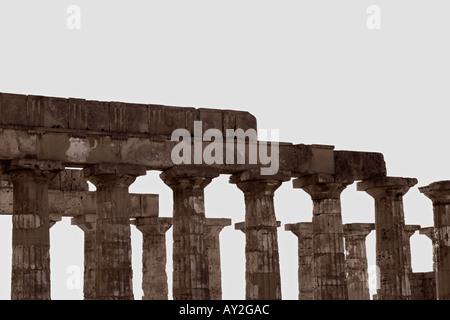 Greek Temple In Selinunte Sicily Italy - Stock Photo