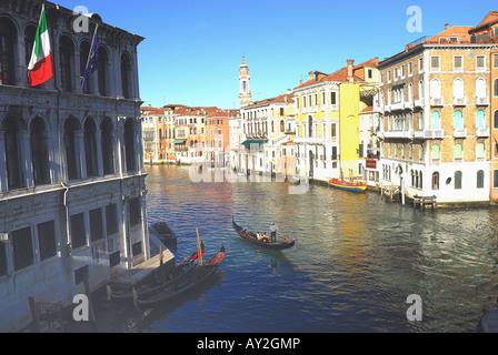 Venice Italy a view of the Gran Canal from Rialto bridge - Stock Photo