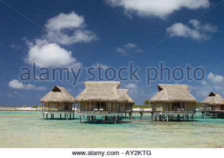 Pearl Beach Resort Tikehau Tuamotu Archipelago French Polynesia - Stock Photo